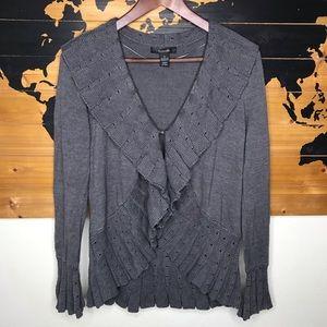 Style & co. Grey Ruffle Knit Cardigan